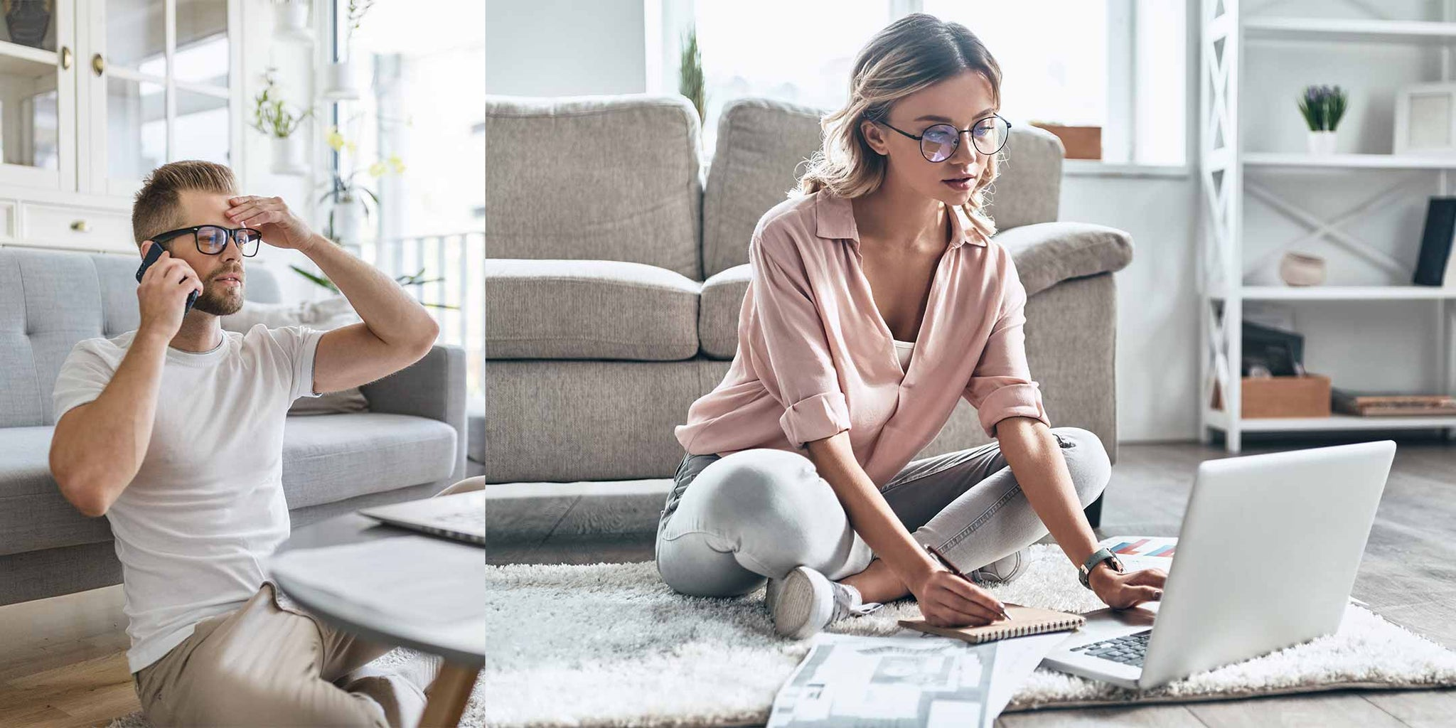 Pros and Cons of Working from Home, Man and Woman Working from Home