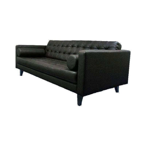 Abruzzo 3 Seater Black Genuine Leather Sofa-Megafurniture