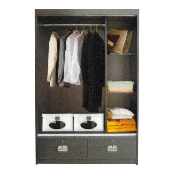 Addy Walnut 4ft Sliding Wardrobe-Megafurniture