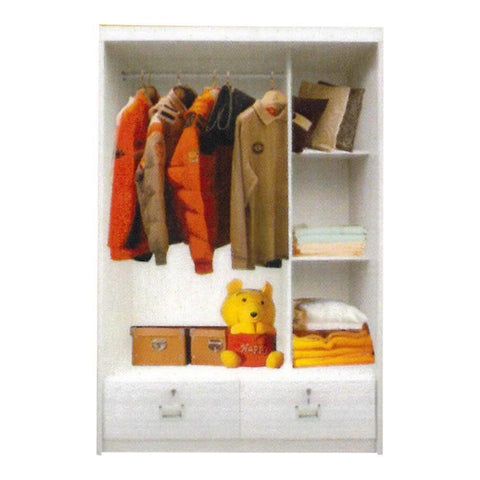 Addy White Wash Sliding Wardrobe-Megafurniture