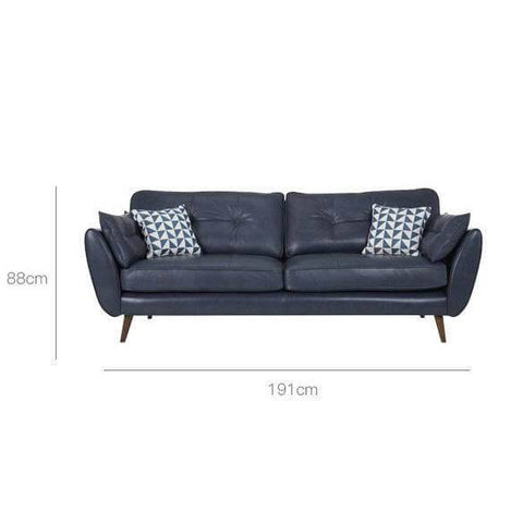 Anthony Blue Faux Leather Sofa-Megafurniture