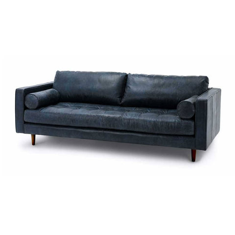 Ashla Blue Faux Leather Sofa-Megafurniture