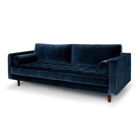 Ashla Blue Velvet Fabric Sofa-Megafurniture