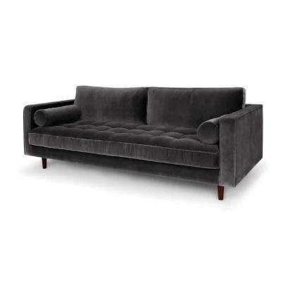 Ashla Grey Velvet Fabric Sofa-Megafurniture
