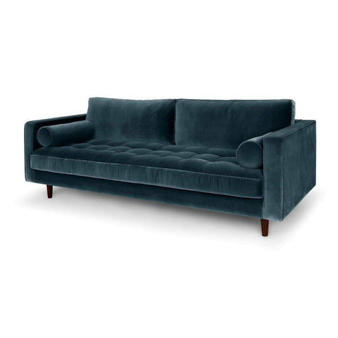Ashla Petrol Velvet Fabric Sofa-Megafurniture