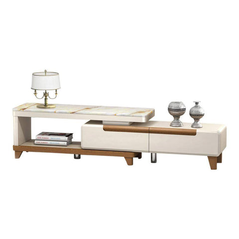 Atticus Marble Top Extendable Tv Console-Megafurniture