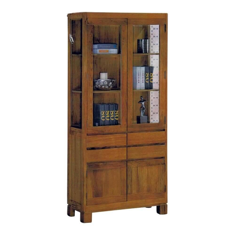 Bardon Teak Wood Display Cabinet-Megafurniture