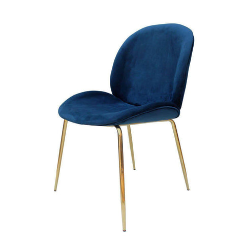 Beetle Replica Blue Velvet Chair-Megafurniture
