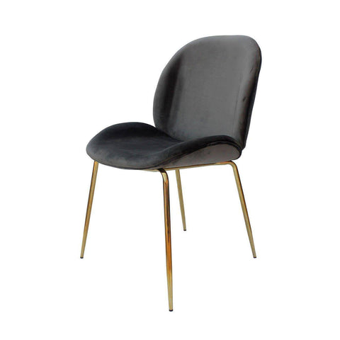Beetle Replica Grey Velvet Chair-Megafurniture