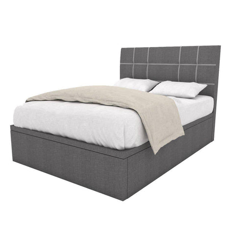 Boris Grey Fabric Storage Bed-Megafurniture