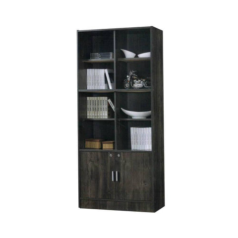 Brooks Dark Oak Display Cabinet/Bookshelf-Megafurniture