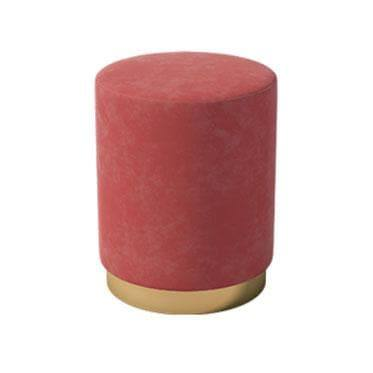 Clyde Red Velvet Ottoman-Megafurniture