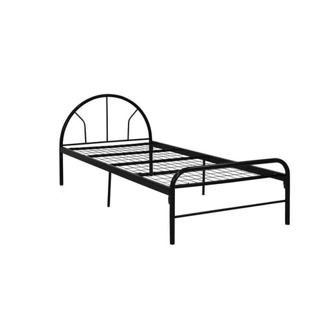 Denzel Single Size Metal Bed + Foam Mattress-Megafurniture