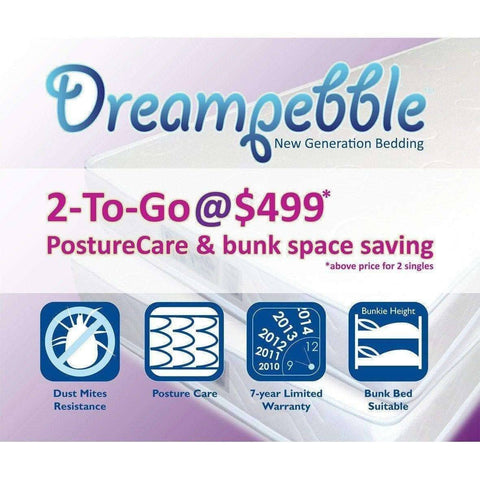 Dreampebble 2-To-Go PostureCare Mattress (Pair)-Megafurniture
