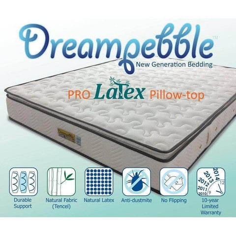 Dreampebble Pro Latex Pillow Top Individual Pocketed Spring Mattress-Megafurniture