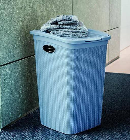 Elegance Laundry Hamper Blue (Stefanplast)-Megafurniture
