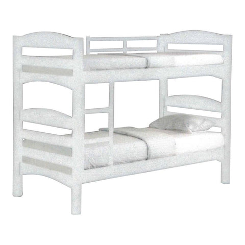 Fiona White Wooden Double Decker Bed Frame-Megafurniture
