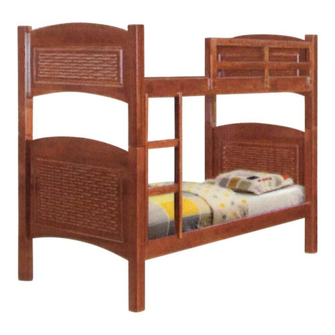 Gilles Cherry Wooden Double Decker Bed Frame-Megafurniture