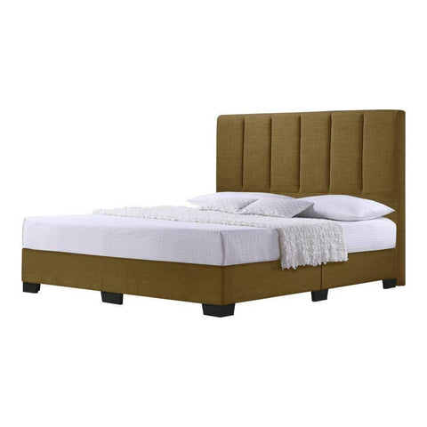 Hanks Brown Fabric Bed Frame-Megafurniture