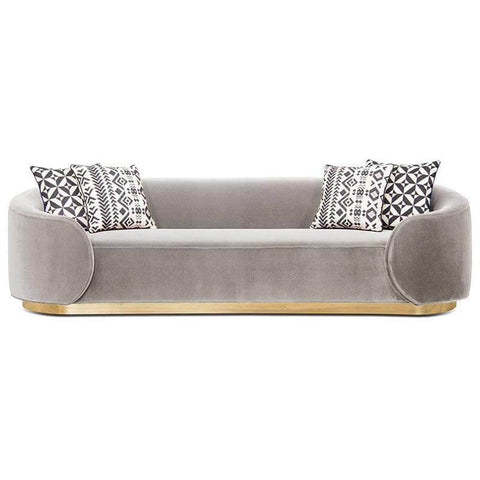 Hemlock Grey Velvet Fabric Sofa-Megafurniture