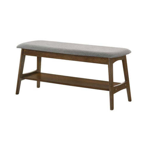 Huber Grey Fabric Dining Bench-Megafurniture