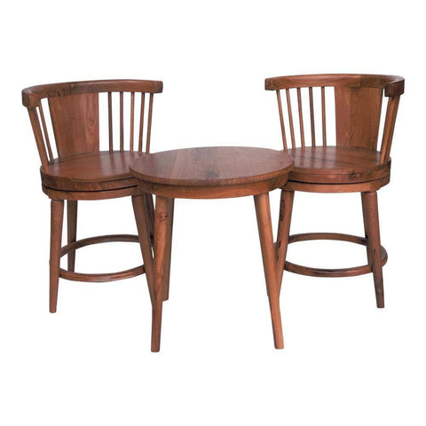 Iona Teak Tea Set (Swivel Chairs)-Megafurniture