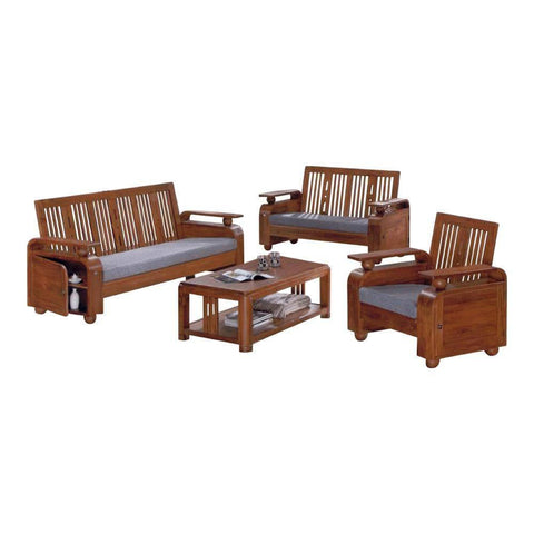 Memphis Solid Teak Wooden Sofa Set-Megafurniture