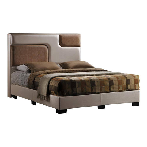 Puzzle C Faux Leather Bed Frame-Megafurniture