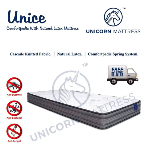 Unicorn Unice Natural Latex Spring Mattress-Megafurniture
