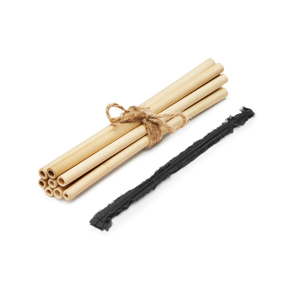 8 Bamboo STRAWS & 1 Bamboo Cleaning Stick set