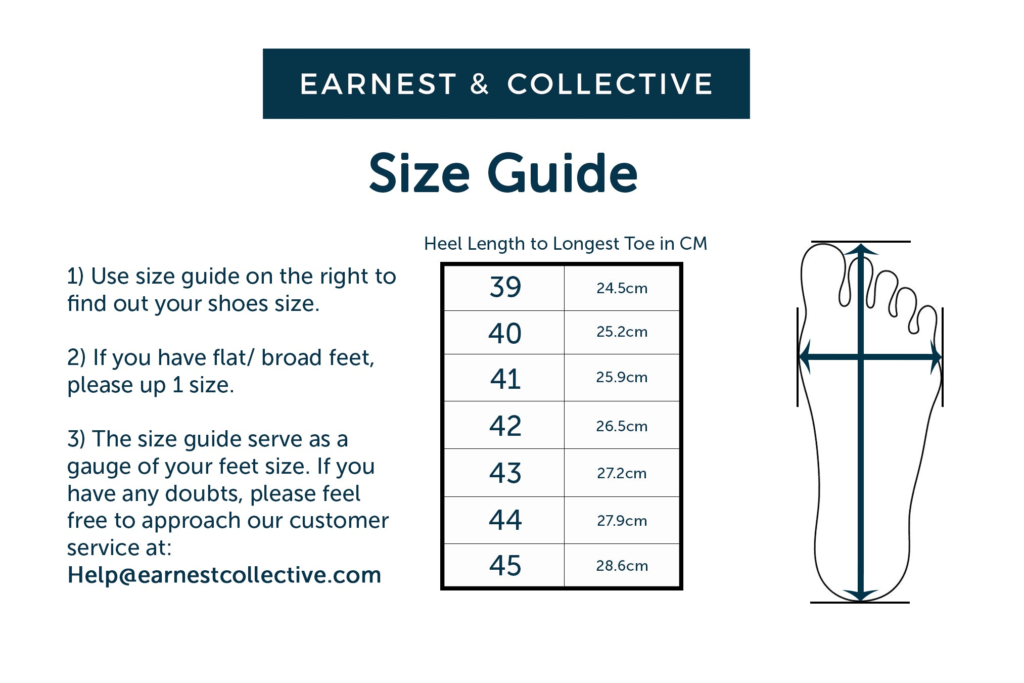 Earnest collective earnest collective yes a size chart is provided on all our shoes product page alternatively you can also drop us an e mail with your feet measurements in terms of length nvjuhfo Choice Image