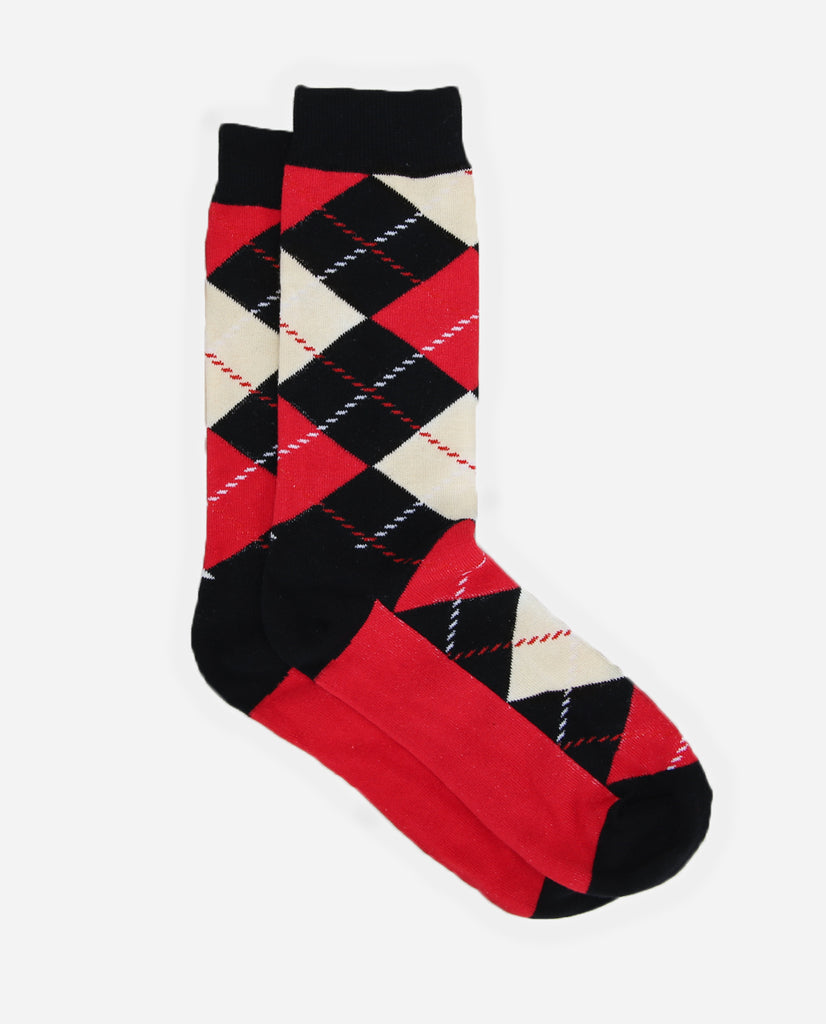 Argyle Sock - Black/Red