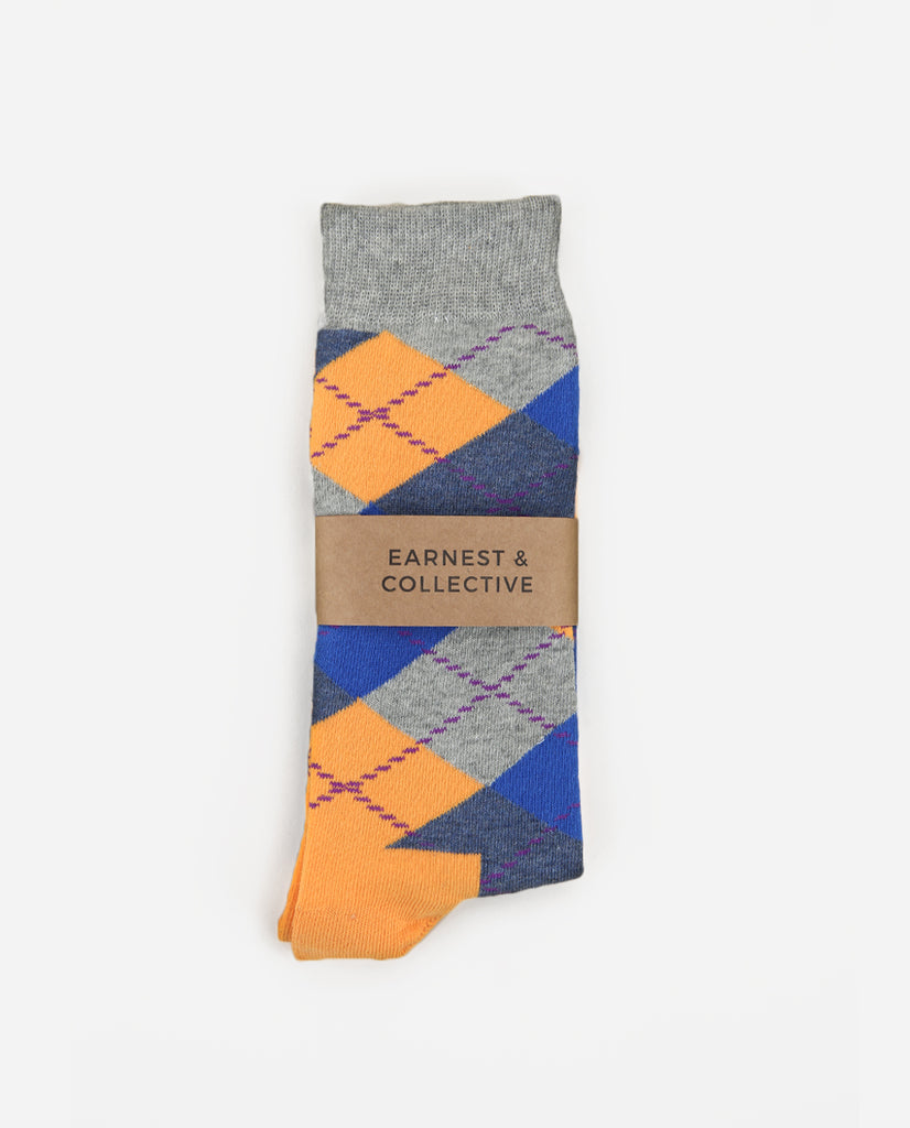 Argyle Sock - Orange/Grey