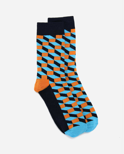 Illusion Sock - Sky/ Orange