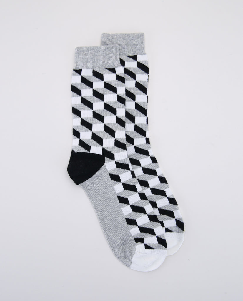 Illusion Sock - Grey/ Black