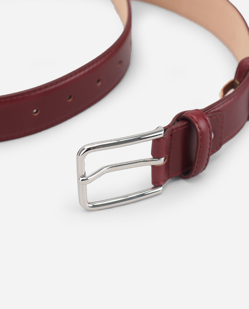 Calf Leather Belt - Garnet