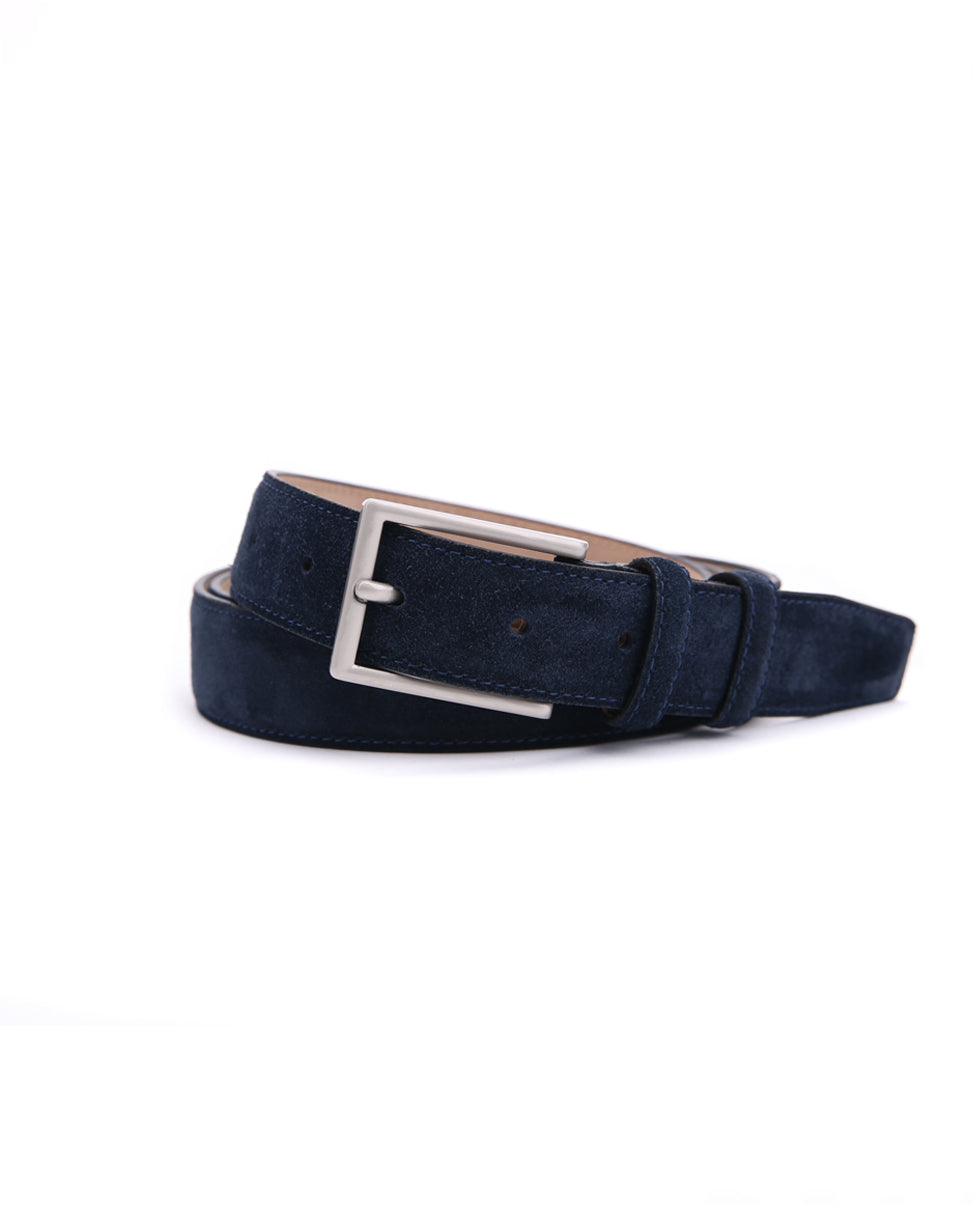 Suede Leather Belt - Navy