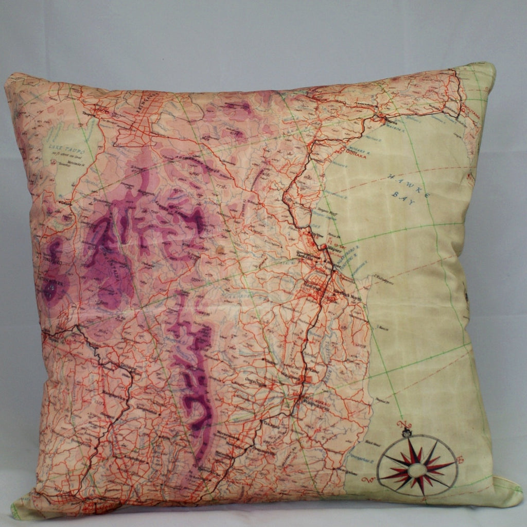 Flight Map Cushion Cover-Hawkes Bay