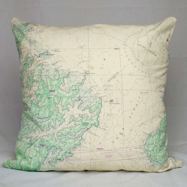 Nautical Chart Cushion Cover - Marlborough Sounds and Wellington