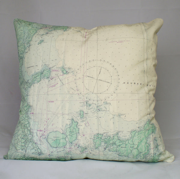 Nautical Chart Cushion Cover - Auckland