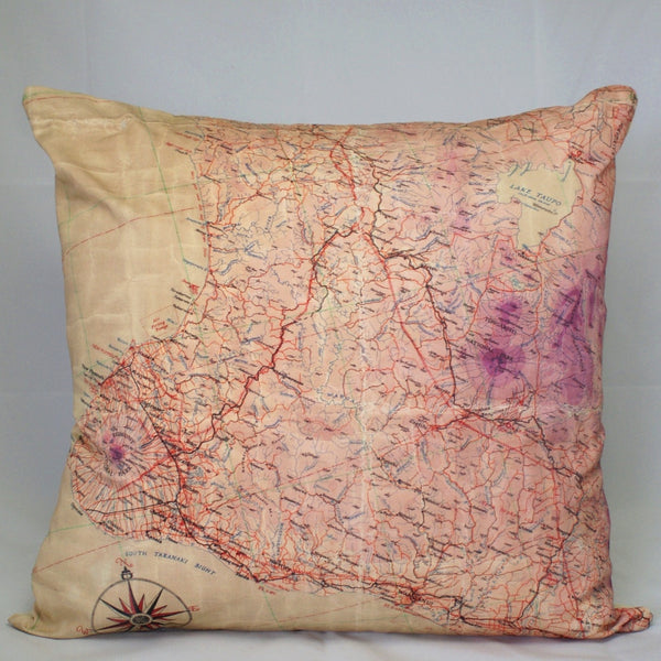 Flight Map Cushion Cover - Taranaki