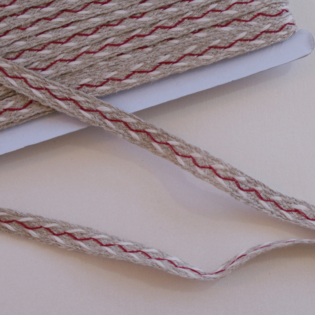 Linen Woven Tape- red