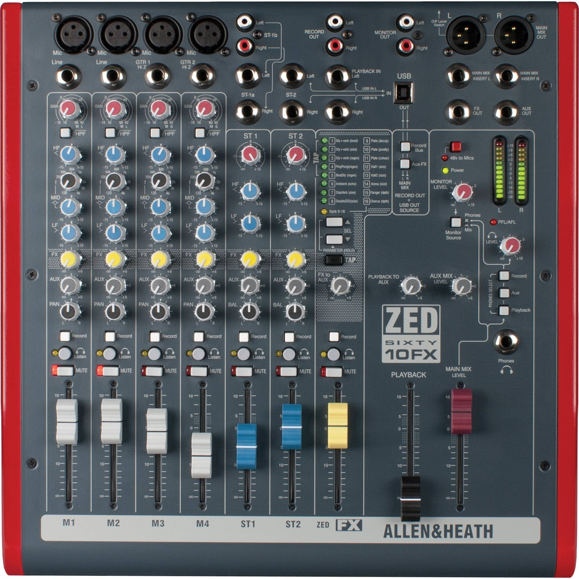 Allen and Heath ZED6010FX - 6 Channel Mixer with Effects and USB