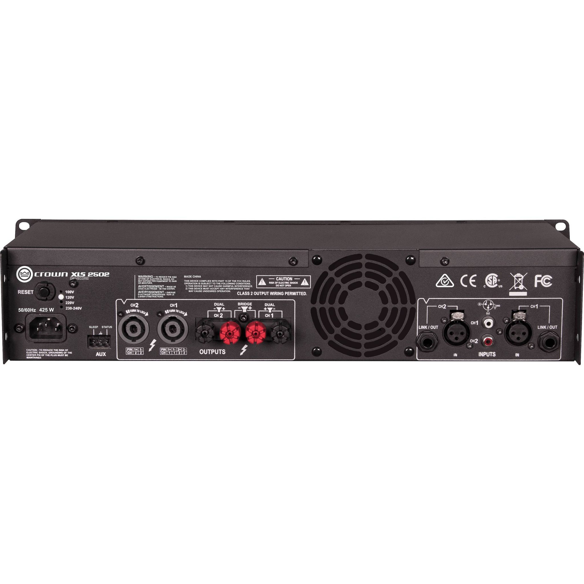 Crown Audio XLS 2502 Stereo Power Amplifier (775W at 4 Ohm)
