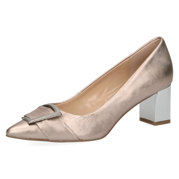 Caprice rose satin leather shoe