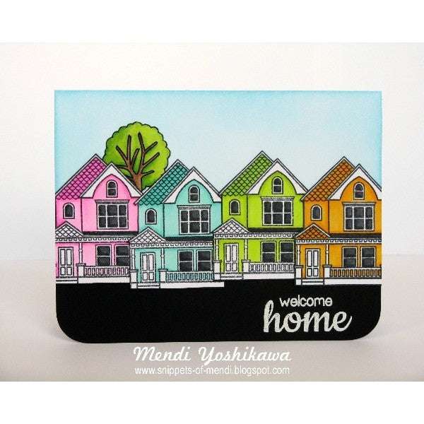 Sunny Studio Stamps Happy Home Welcome Home Rainbow Houses Card