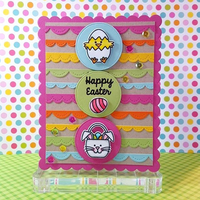 Sunny Studio Stamps A Good Egg Rainbow Scalloped Striped Easter Card