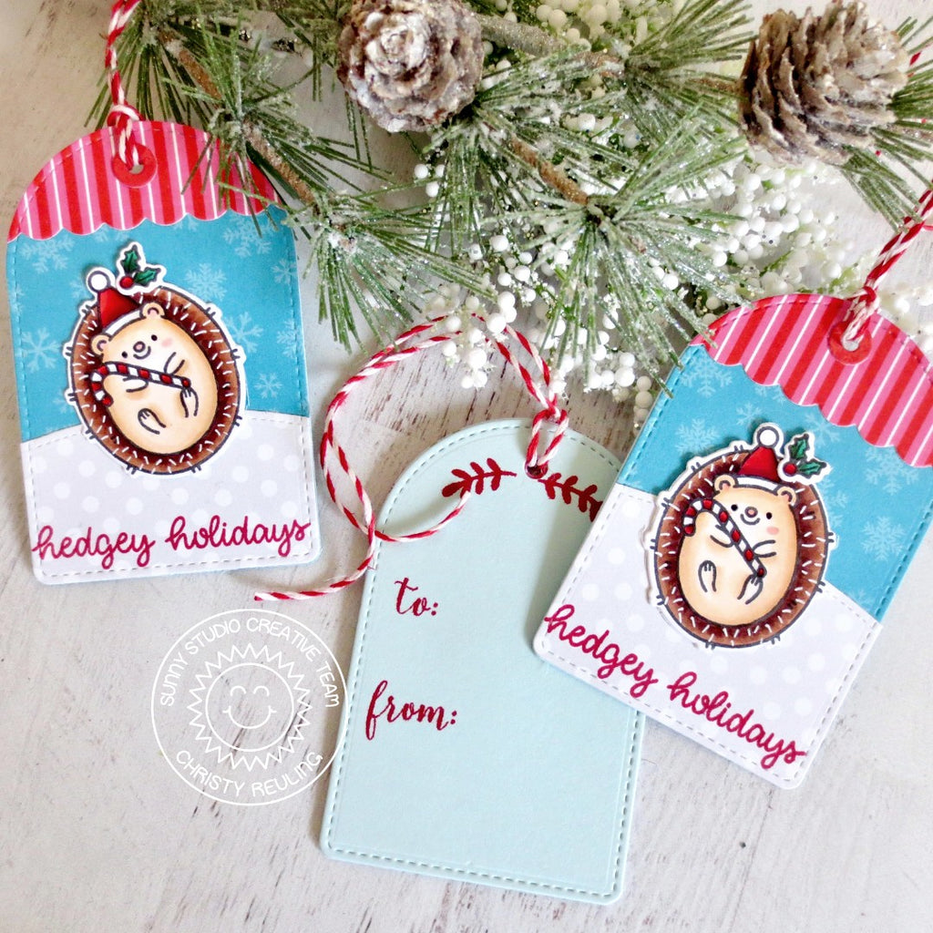 Sunny Studio Stamps Hedgehog Handmade Christmas Holiday Gift Tags (using Stitched Arch Metal Cutting Dies)