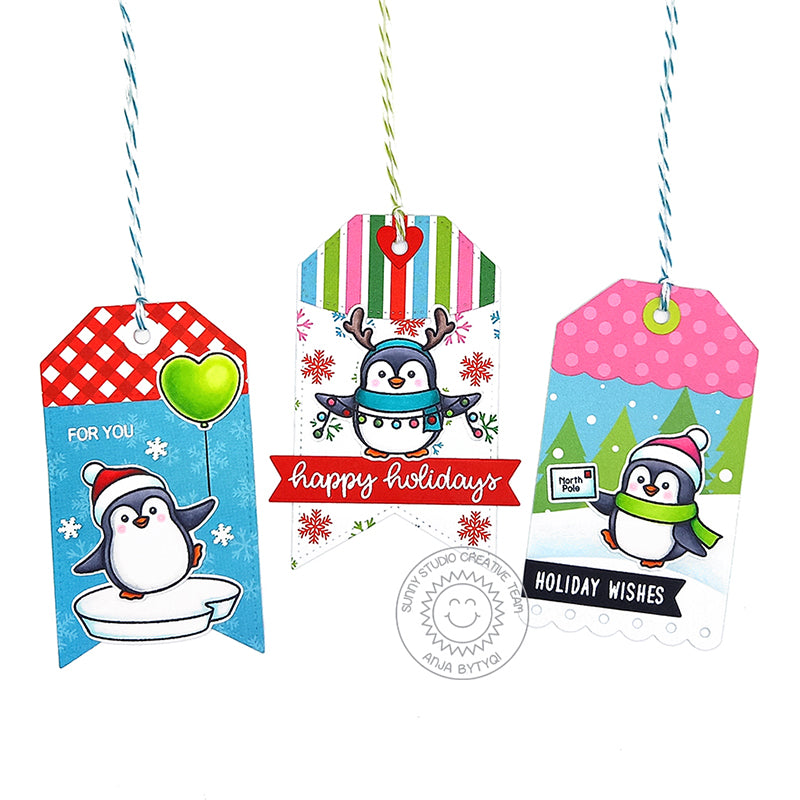 Sunny Studio Stamps Colorful Penguin Handmade Christmas Holiday Gift Tags (using Holiday Cheer 6x6 Patterned Paper Pad Pack)