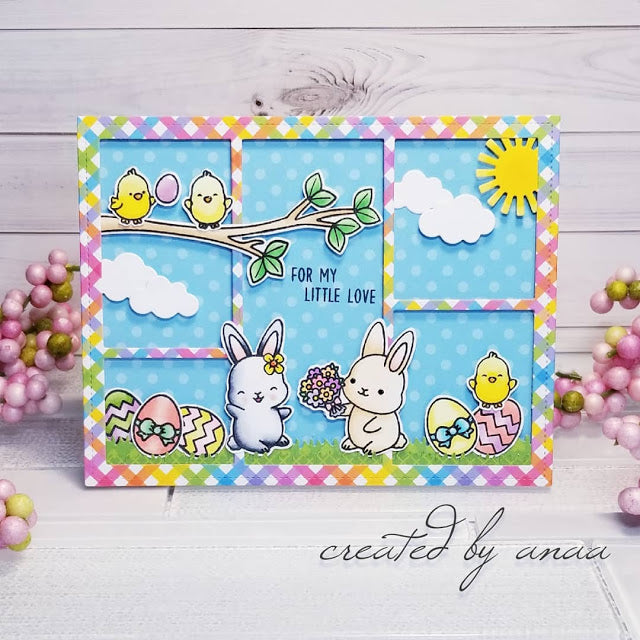 Sunny Studio Stamps Easter Bunny Spring Card (using Comic Strip Everyday Dies)